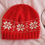 圣诞主题棒针雪花提花帽子
