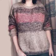 茱莉亚 喵夫人新惊蛰立冬女士棒针段染马海毛衣