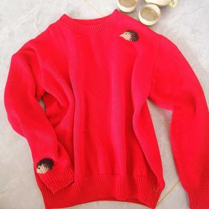 开门红 小刺猬刺绣图案女士棒针套头毛衣