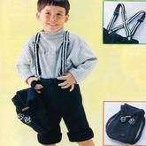 背带也是手工织的帅气儿童棒针翻边短款背带裤