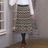实用又好看的水波纹拼花组合女士钩针半身裙