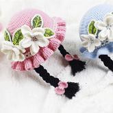 花朵小辫帽子(3-3)儿童钩针木耳边假发帽编织视频教程