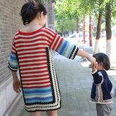 钩针祖母方格拼色毛衣编织视频(2-2)