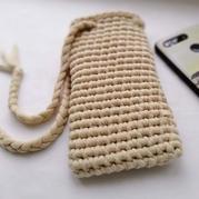 灌芯棉布条线云趣钩针手机袋