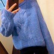湛蓝的天空 别样麻花搓板针女士棒针大毛衣