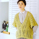 休闲宽松女士棒针镂空麻花V领套头衫
