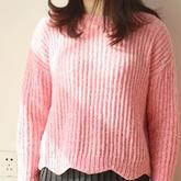 雪尼尔波浪边女士棒针毛衣编织视频教程