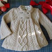 看图仿时尚英伦风棒针麻花翻令双扣裙式儿童大衣