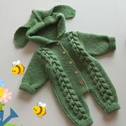 萌萌兔(2-2)婴幼儿棒针秋冬连体衣爬服编织视频教程